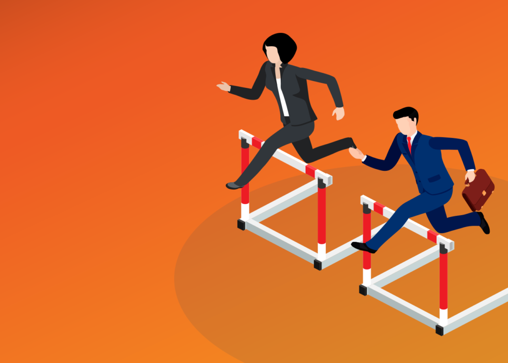 business support staff jumping hurdles